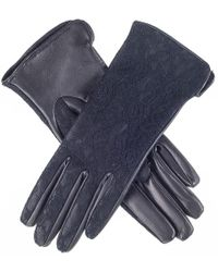 Black Leather And Lace Silk Lined Leather Gloves - Blue