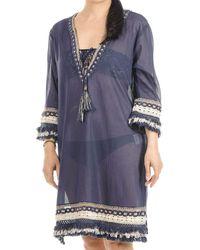 Black Indigo And Gold Cotton Kaftan Dress - Blue