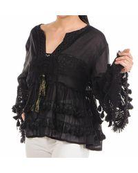Black Bell-sleeved Cotton Kaftan Top - Black