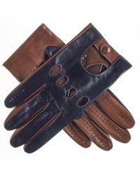Black.co.uk Navy And Tobacco Italian Leather Driving Gloves - Multicolour