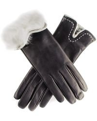 Black.co.uk - Black And Ivory Rabbit Fur Lined Leather Gloves - Lyst