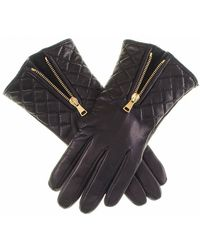 Black.co.uk Black Leather Quilted Gloves With Cashmere Lining - Sample