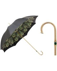 Black.co.uk Black And Peacock Print Double Canopy Luxury Umbrella - Multicolour