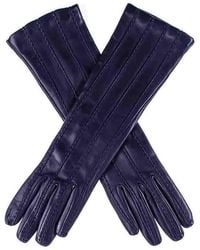 Black Dark Navy Leather Musketeer Gloves With Points - Blue