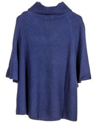 Black.co.uk - Navy Roll Neck Cashmere Sleeved Poncho - Lyst