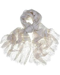 Black.co.uk - Cream Cashmere And Chantilly Lace Shawl - Lyst