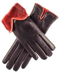 Black.co.uk - Black And Red Rabbit Fur Lined Leather Gloves - Lyst