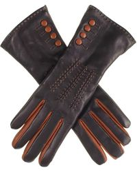 Black.co.uk Black And Tan Leather Gloves With Button Detail - Cashmere Lined