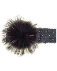 Black.co.uk - Black Fur Pom Pom Headband - Lyst