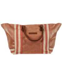 Black.co.uk - Paros Red And Gold Hessian Beach Tote Bag - Lyst