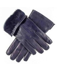 Black.co.uk - Navy Leather Gloves With Rabbit Fur Lining - Lyst