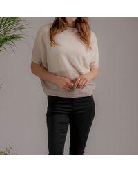 Black Cream And Latte Cashmere Top - Multicolor