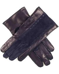 Black Men's Navy Suede And Leather Gloves Cashmere Lined - Blue