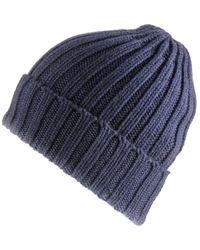 Black Chunky Rib Knit Navy Cashmere Beanie - Blue
