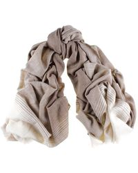 Black.co.uk - Cream And Caramel Cashmere Ring Shawl - Lyst