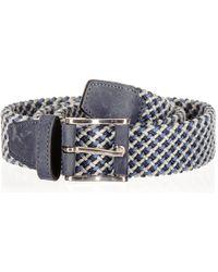 Black.co.uk - Blue And Grey Italian Nubuck Trimmed Woven Belt - Lyst