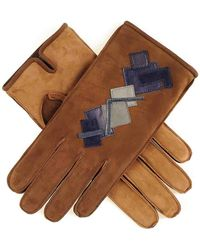 Black.co.uk Men's Two Tone Brown Nubuck 'patchwork' Leather Gloves Cashmere Lined