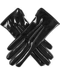 Black Patent Leather Gloves - Multicolor