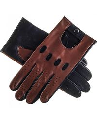 Black Brown And Leather Driving Gloves - Multicolour
