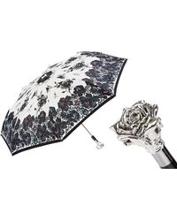 Black.co.uk Silver Rose Luxury Folding Umbrella - Metallic