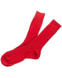 Black Men's Cardinal Red Cashmere Socks