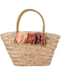 Black.co.uk - Rose Pom Pom Natural Straw Tote Bag - Lyst