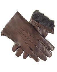Black Men's Brown Rabbit Fur Lined Leather Gloves - Multicolour