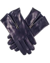 Black.co.uk - Navy Blue Leather Gloves With Zip Detail - Cashmere Lined - Lyst