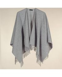Black Silver Gray Merino Wool Cape