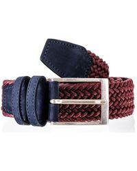 Black.co.uk - Burgundy Italian Nubuck Leather Trimmed Woven Belt - Lyst