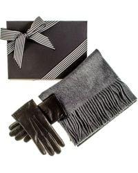 Black.co.uk Rabbit Fur Lined Gloves And Grey Cashmere Scarf Gift Set