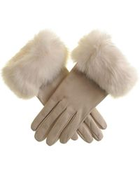 Black.co.uk - Cream Leather Gloves With Rabbit Fur Cuff - Lyst