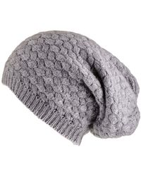 c2818321c41f8 Black.co.uk - Grey Basketweave Cashmere Slouch Beanie - Lyst