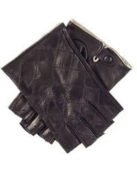 Black.co.uk Ladies' Black And Gold Fingerless Leather Driving Gloves