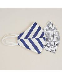 Black Leaf And Stripe Reversible Organic Cotton Face Mask - Blue