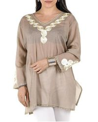 Black Sand And Gold Embroidered Cotton Kaftan Top - Natural