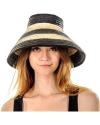 Black.co.uk Black And Brown Striped Bow Straw Sun Hat
