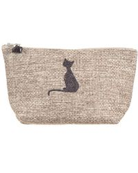 Black.co.uk Gray Tweed 'pussy Cat ' Make Up Bag