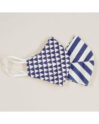 Black Stripe And Geometric Reversible Organic Cotton Face Mask - Blue