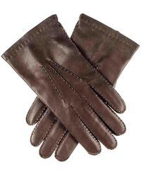 Black.co.uk Men's Dark Brown Cashmere Lined Leather Gloves