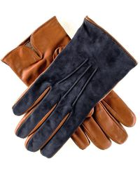 Black.co.uk Men's Navy Suede And Tan Leather Gloves-cashmere Lined - Blue
