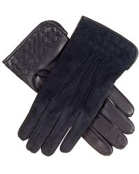 Black Men's Suede And Leather Woven Gloves - Cashmere Lined - Multicolour
