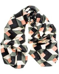 Black.co.uk Carmen – Muted Green, Coral And Black Silk Scarf