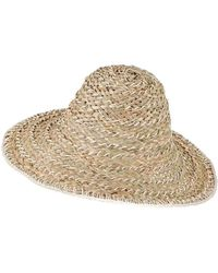 Black Natural And Ivory Straw Sun Hat - Multicolor