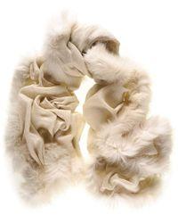 Black.co.uk Fur Trimmed Cream Cashmere Ring Shawl - Natural