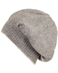 Black.co.uk - Grey Double Layer Cashmere Slouch Beret - Lyst