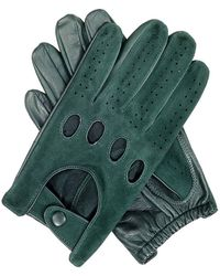 Black Men's Green Suede And Leather Driving Gloves