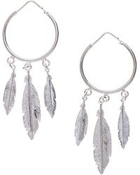 Black.co.uk - Triple Feather Sterling Silver Earrings - Lyst