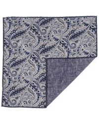Black.co.uk - Blue Paisley Reversible Silk And Cotton Pocket Square - Lyst