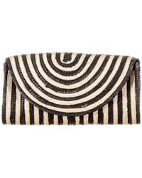 Black.co.uk Monochrome Envelope Straw Clutch Bag - Multicolour